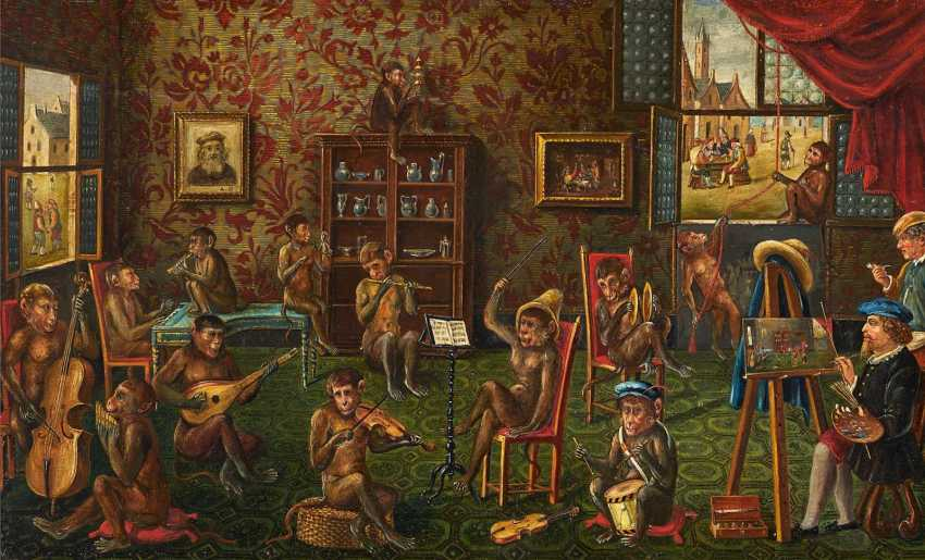 Painter's studio with a group of monkeys making music - photo 1