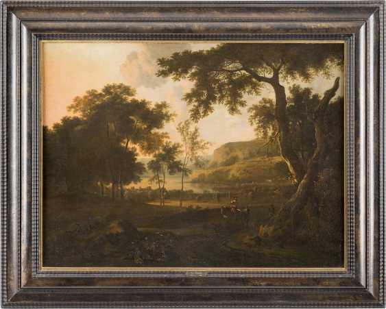 JAN WIJNANTS C. 1630 Haarlem - 1684 Amsterdam ABENDSTIMMUNG AN EINEM SEE MIT FIGURENSTAFFAGE - photo 2