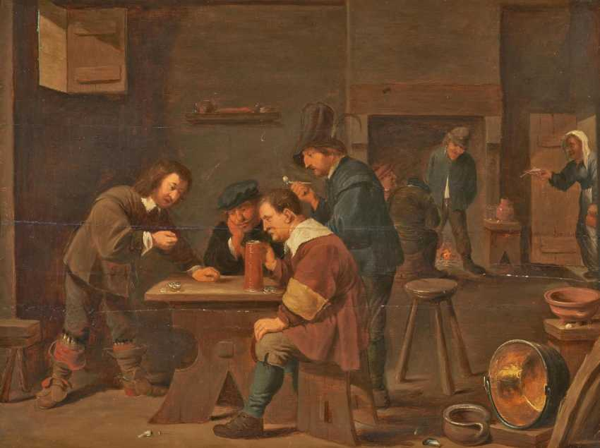 Tavern scene with players and farmers in front of the fireplace - photo 1