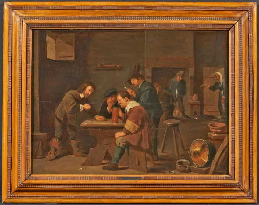 Tavern scene with players and farmers in front of the fireplace - photo 2
