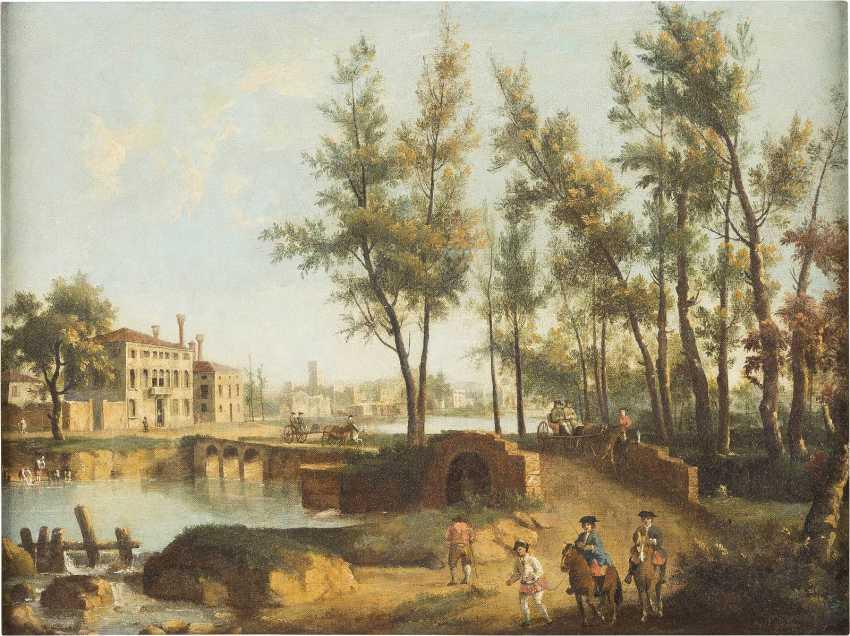 GIOVANNI BATTISTA CIMAROLI (ATTR.) C. 1687 Salò (Gardasee) - C. 1753 Venedig (?) NORDITALIENISCHE FLUSSLANDSCHAFT MIT REISENDEN - Foto 1