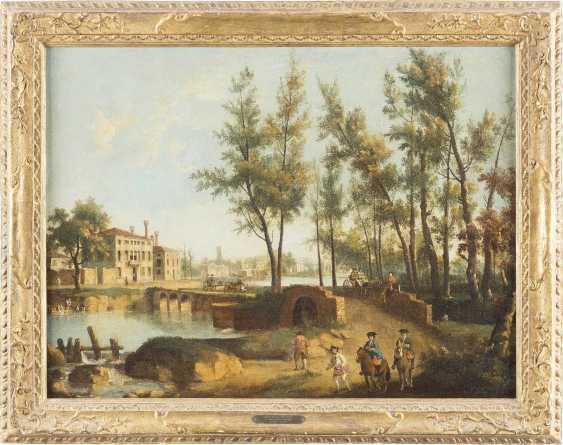 GIOVANNI BATTISTA CIMAROLI (ATTR.) C. 1687 Salò (Gardasee) - C. 1753 Venedig (?) NORDITALIENISCHE FLUSSLANDSCHAFT MIT REISENDEN - Foto 2