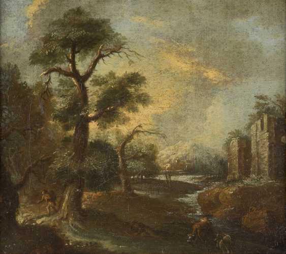 OBERITALIENIENISCHER MEISTER Tätig Ende 17. Jahrhundert PAAR FLUSSLANDSCHAFTEN MIT FIGURENSTAFFAGE - photo 3