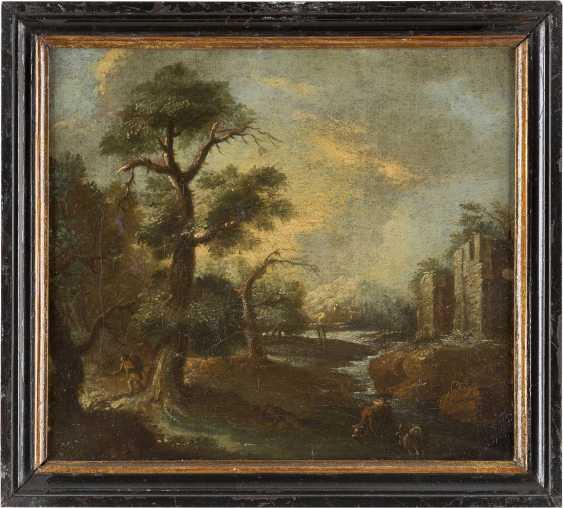 OBERITALIENIENISCHER MEISTER Tätig Ende 17. Jahrhundert PAAR FLUSSLANDSCHAFTEN MIT FIGURENSTAFFAGE - photo 4