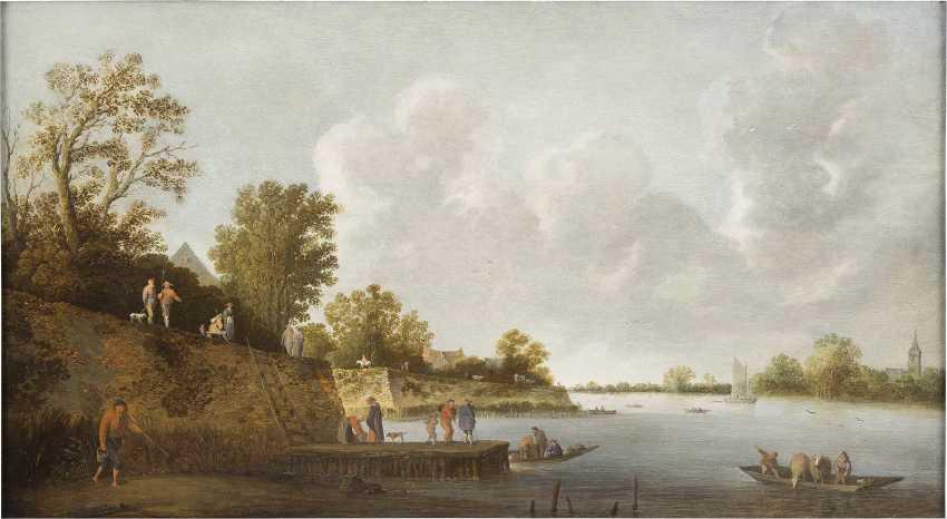 PIETER DE BLOOT C. 1601 Rotterdamm - 1658 Ebenda FLUSSLANDSCHAFT MIT ANGLERN - photo 1