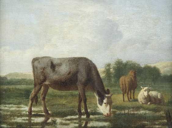 ADRIAEN VAN DE VELDE 1636 Amsterdam - 1672 Ebenda LANDSCHAFT MIT WEIDENDER KUH, PFERD UND SCHAF - photo 1