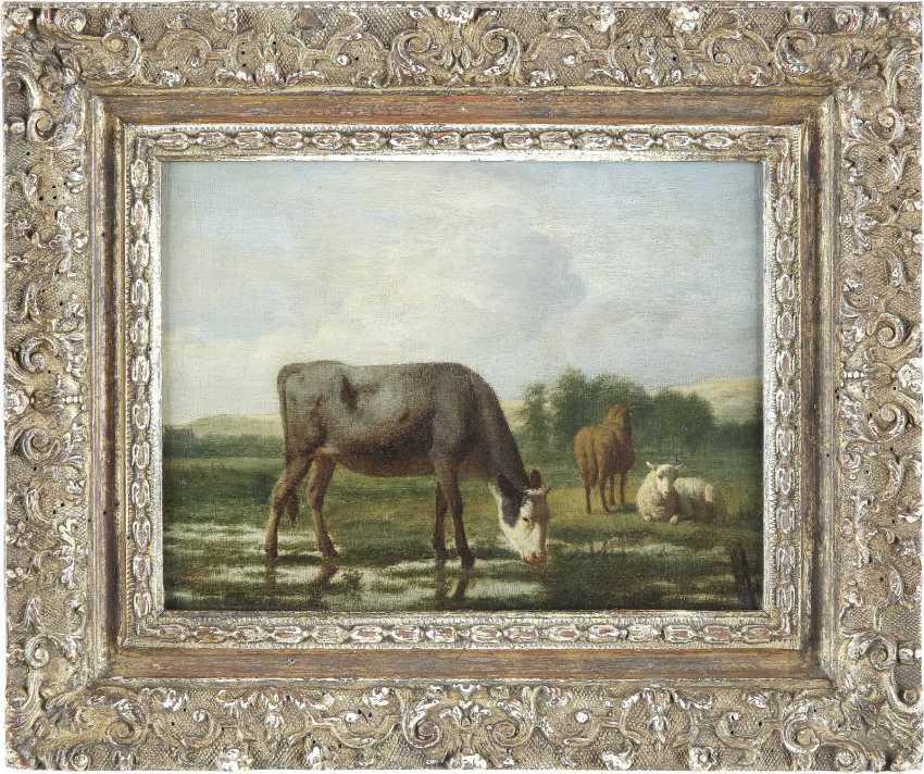 ADRIAEN VAN DE VELDE 1636 Amsterdam - 1672 Ebenda LANDSCHAFT MIT WEIDENDER KUH, PFERD UND SCHAF - photo 2