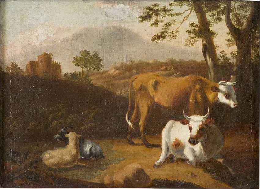 JOHANN HEINRICH ROOS (SCHULE) 1631 Otterberg (Kaiserslautern) - 1685 Frankfurt (Main) VIEH VOR EINER RUINENLANDSCHAFT - photo 1
