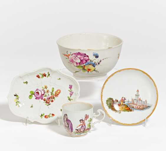 Cup with allegory, saucer, bowl, bowl - photo 1