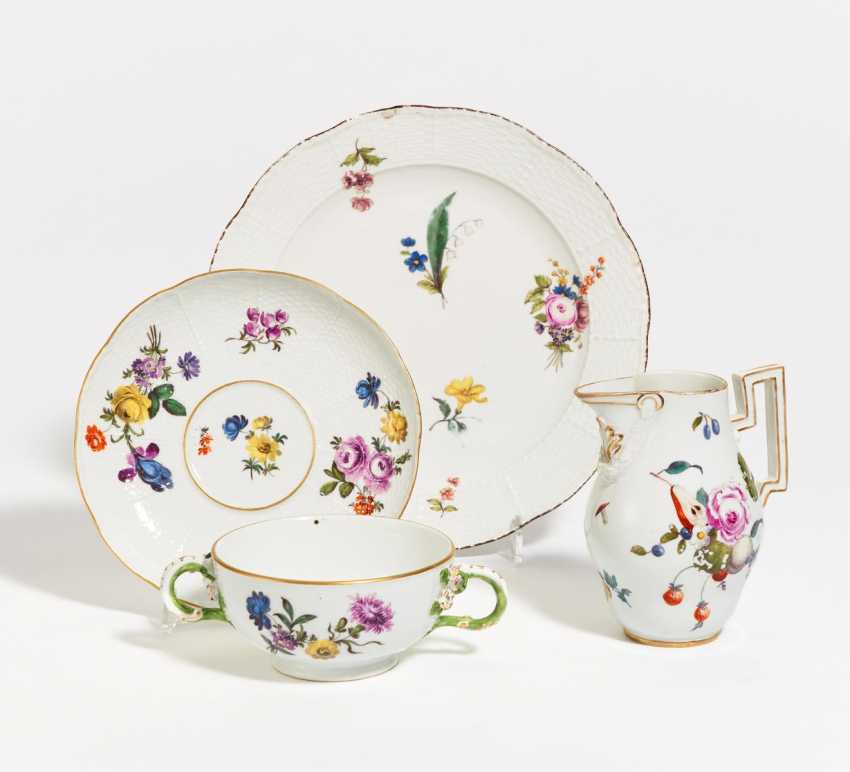 Double handle bowl with saucer, plate, jug - photo 1