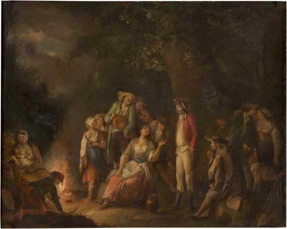 JOHANN ANDREAS HERRLEIN 1723 Würzburg - 1796 Fulda ABENDLICHES FESTLAGER MIT FAHRENDEM VOLK UND SOLDATEN - photo 1