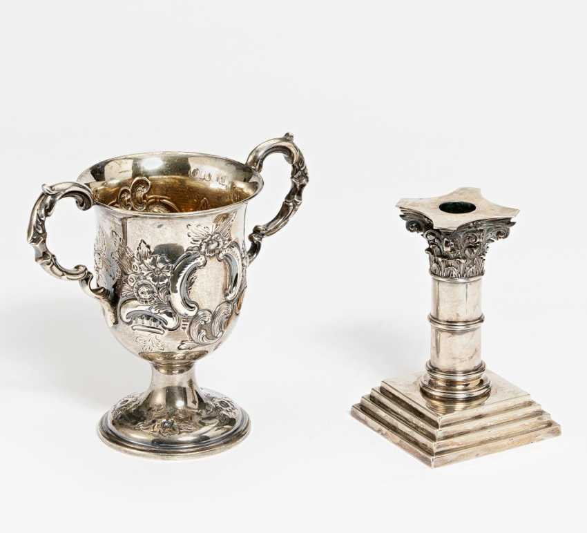 Double handle mug with cartridge decoration & candlestick with capital - photo 1