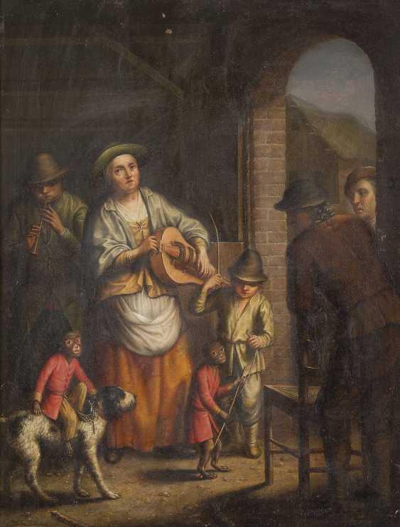 JOHANN JACOB METTENLEITER 1750 Großkuchen - 1825 St. Petersburg GAUKLERFAMILIE MIT ÄFFCHEN, WELCHES AUF EINEM HUND REITET - photo 1