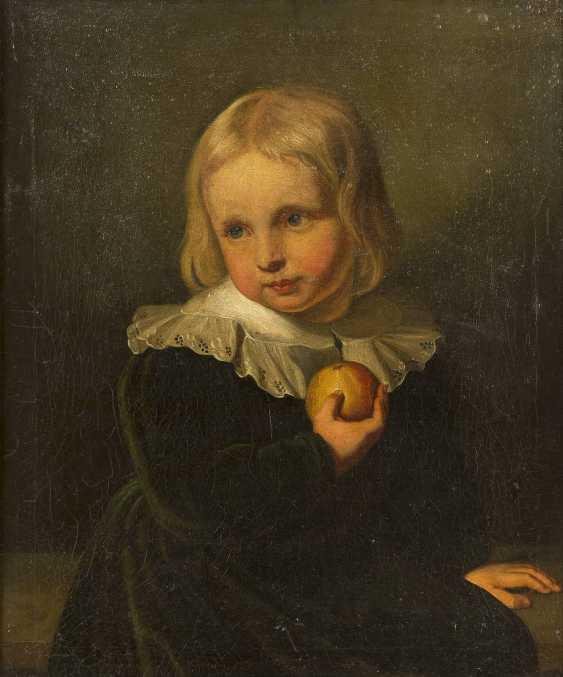 FRANZÖSISCHE SCHULE Meister, tätig wohl 2. Hälfte 18. Jahrhundert BILDNIS EINES JUNGEN MIT APFEL - photo 1