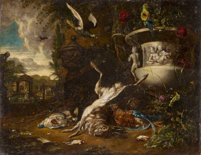 FRANZÖSISCHER MEISTER Tätig im 18. Jahrhundert JAGDBEUTE VOR EINER PARKLANDSCHAFT - photo 1