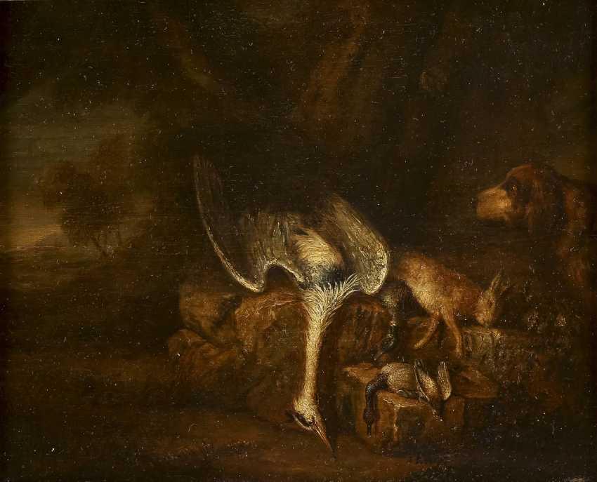 DEUTSCHER MEISTER Tätig im 18. Jahrhundert JAGDSTILLLEBEN MIT REIHER, HASE UND FEDERVIEH - photo 1