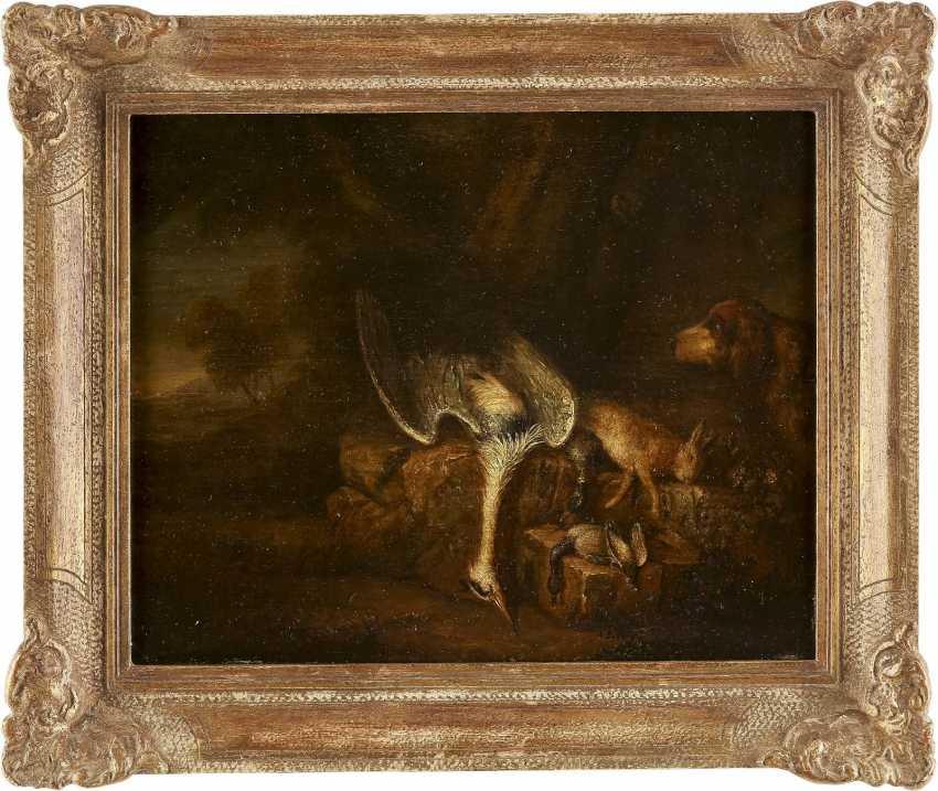 DEUTSCHER MEISTER Tätig im 18. Jahrhundert JAGDSTILLLEBEN MIT REIHER, HASE UND FEDERVIEH - photo 2