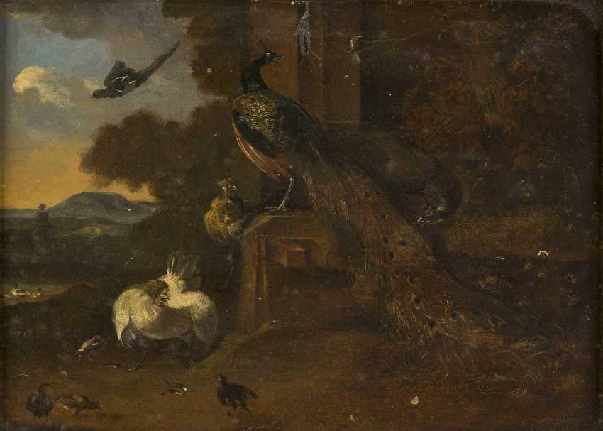 MELCHIOR DE HONDECOETER (IN DER ART DES) 1636 Utrecht - 1695 Amsterdam PFAUEN, HÜHNER UND KÜKEN VOR SÜDLÄNDISCHER LANDSCHAFT - photo 1