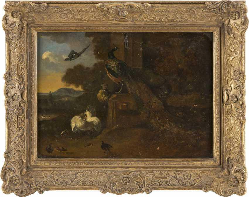 MELCHIOR DE HONDECOETER (IN DER ART DES) 1636 Utrecht - 1695 Amsterdam PFAUEN, HÜHNER UND KÜKEN VOR SÜDLÄNDISCHER LANDSCHAFT - photo 2