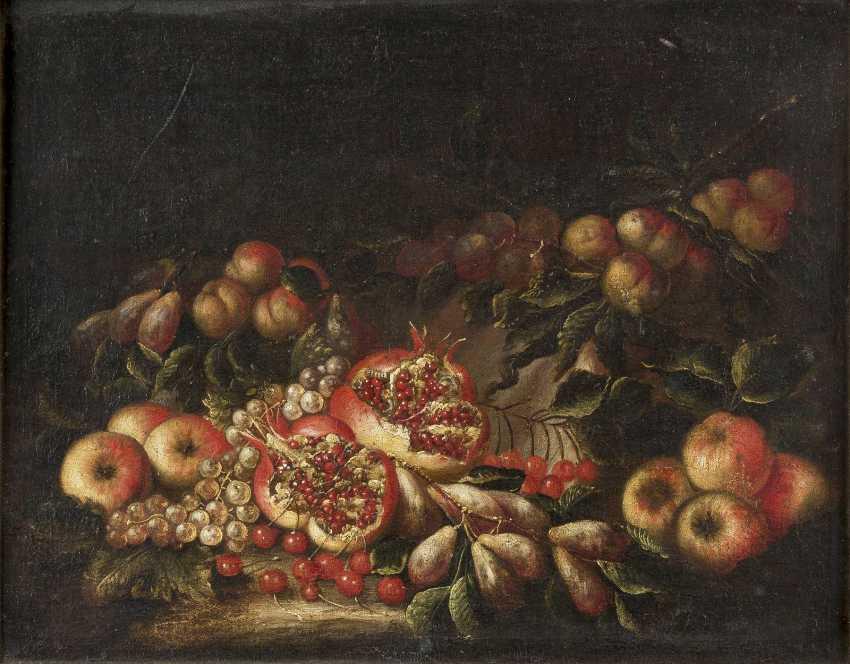 PIETRO NAVARRA (CIRCLE) Tätig, um 1700 STILLLEBEN MIT GRANATÄPFELN, KIRSCHEN UND FRÜCHTEN - photo 1
