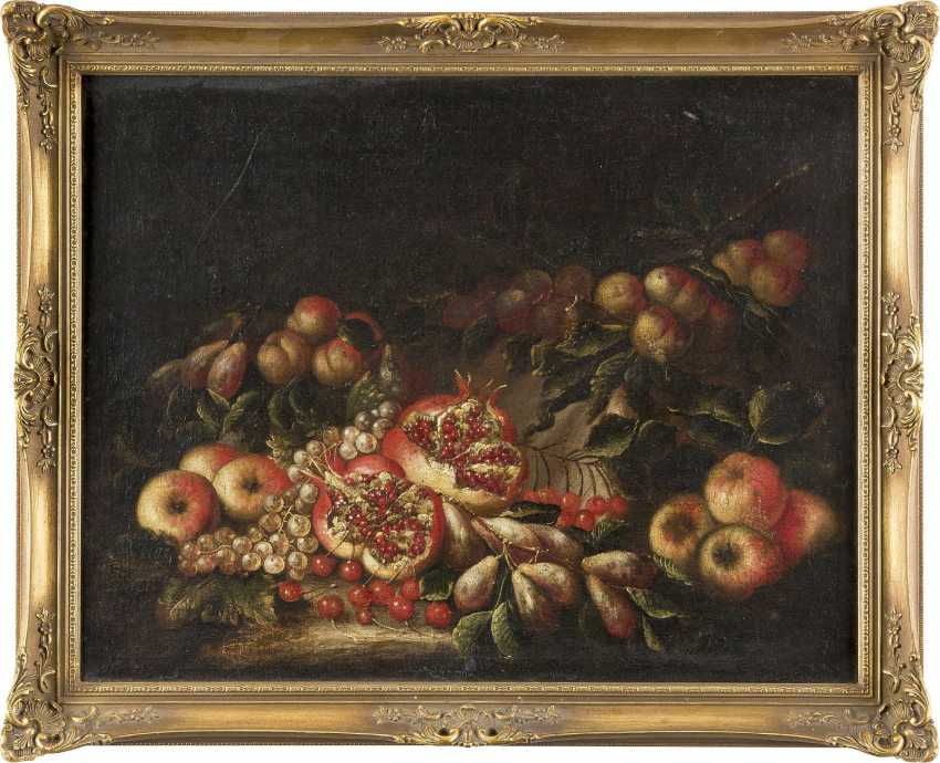 PIETRO NAVARRA (CIRCLE) Tätig, um 1700 STILLLEBEN MIT GRANATÄPFELN, KIRSCHEN UND FRÜCHTEN - photo 2
