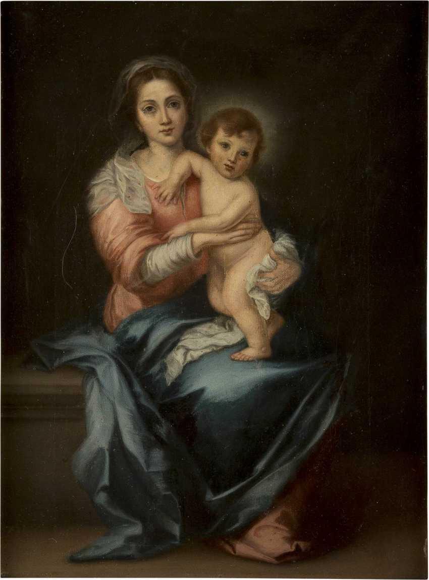 BARTOLOMEO ESTEBAN MURILLO (NACHFOLGER) 1618 Sevilla - 1682 Ebenda MARIA MIT DEM CHRISTUSKNABEN - photo 1