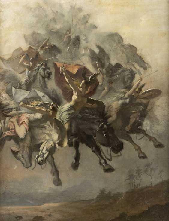 CARL EHRENBERG (ATTR.) 1840 Dannau - 1914 Dresden Mythologische Darstellung von Kriegerinnen auf fliegenden Rössern - photo 1