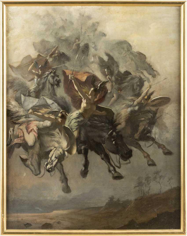 CARL EHRENBERG (ATTR.) 1840 Dannau - 1914 Dresden Mythologische Darstellung von Kriegerinnen auf fliegenden Rössern - photo 2