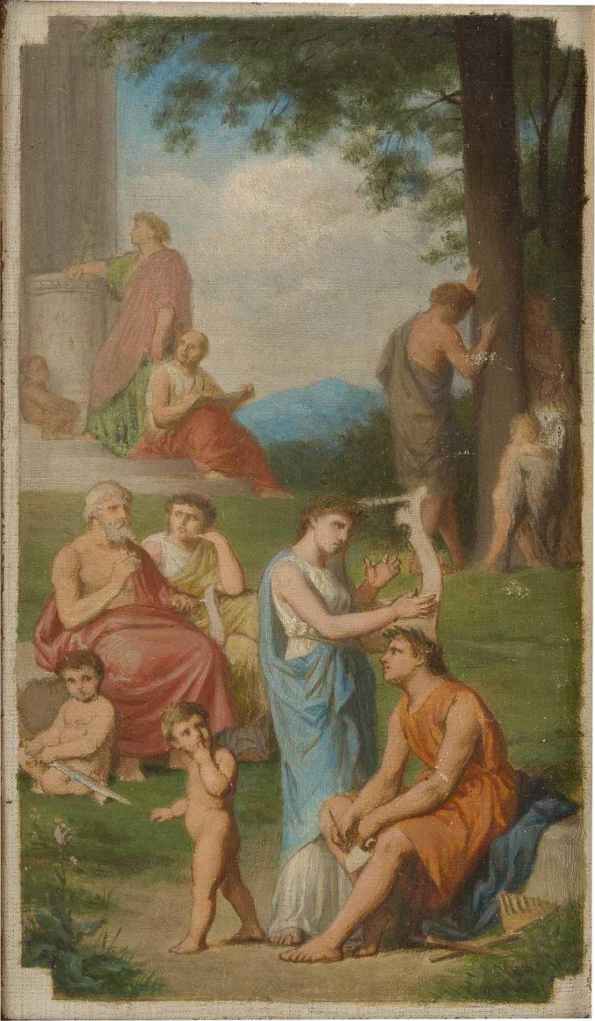 FRANZÖSISCHER MEISTER Tätig um 1900 Zwei klassizistische Kompositionen: Müßiggang in antiken Parklandschaften - photo 1