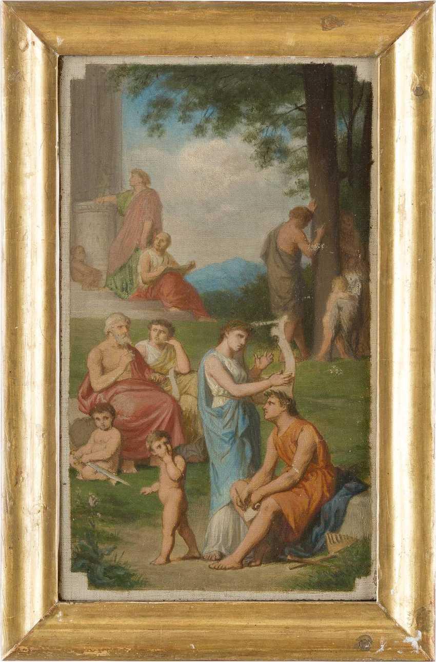 FRANZÖSISCHER MEISTER Tätig um 1900 Zwei klassizistische Kompositionen: Müßiggang in antiken Parklandschaften - photo 2