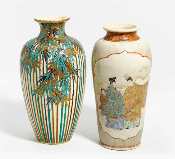 Two Satsuma vases, one with bamboo, one with Genji motif - photo 1