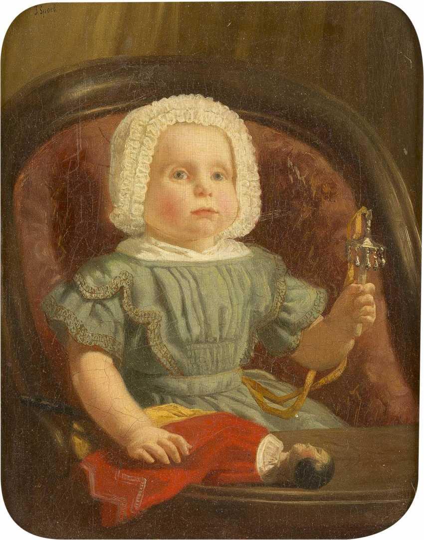 JACOB SPOEL 1820 Rotterdam - c. 1868 ebenda Kinderporträt des Adriaan van Oordt - photo 1