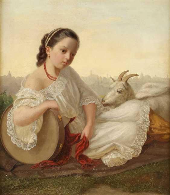 MONOGRAMMIST E.P. Tätig 2. Hälfte 19. Jahrhundert Junges Mädchen mit Tamburin und Ziege - photo 1