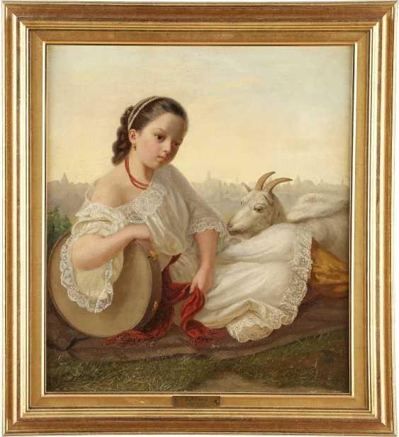 MONOGRAMMIST E.P. Tätig 2. Hälfte 19. Jahrhundert Junges Mädchen mit Tamburin und Ziege - photo 2