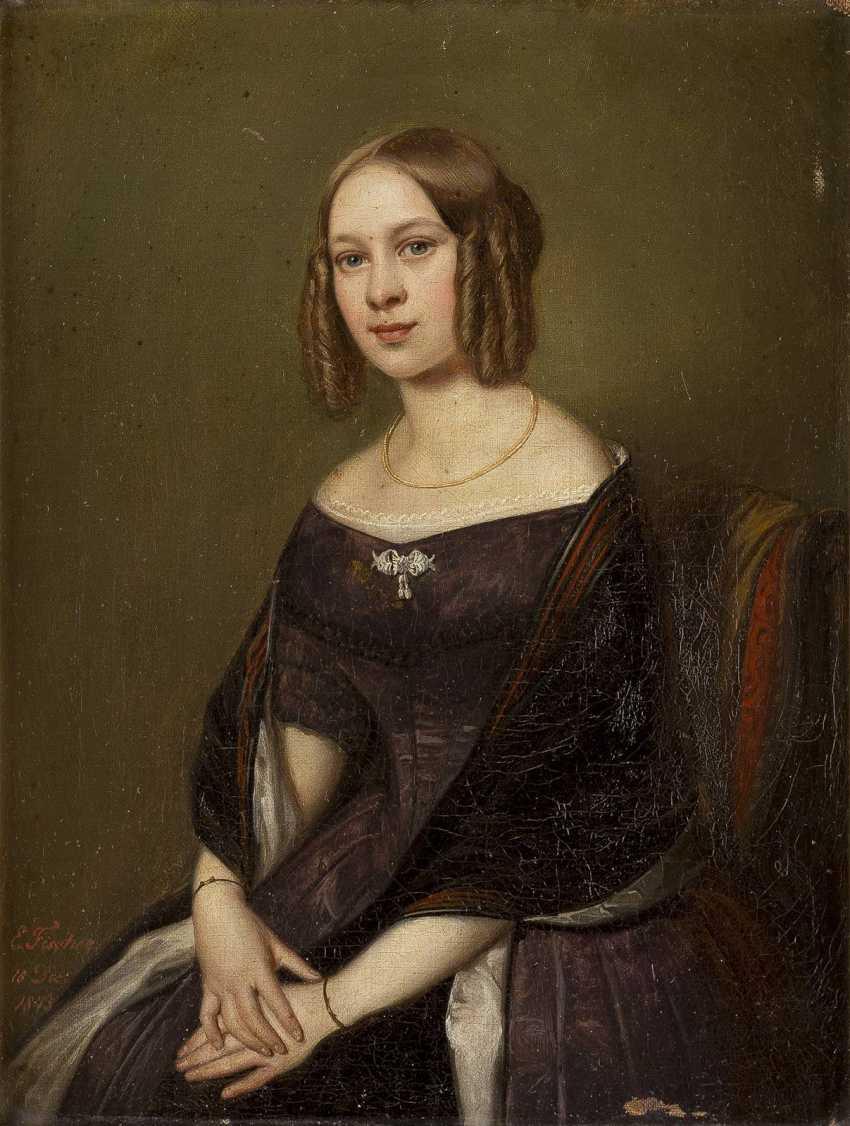 ERNST GEORG FISCHER 1815 Coburg - 1874 ebenda Halbporträt einer jungen Dame - photo 1