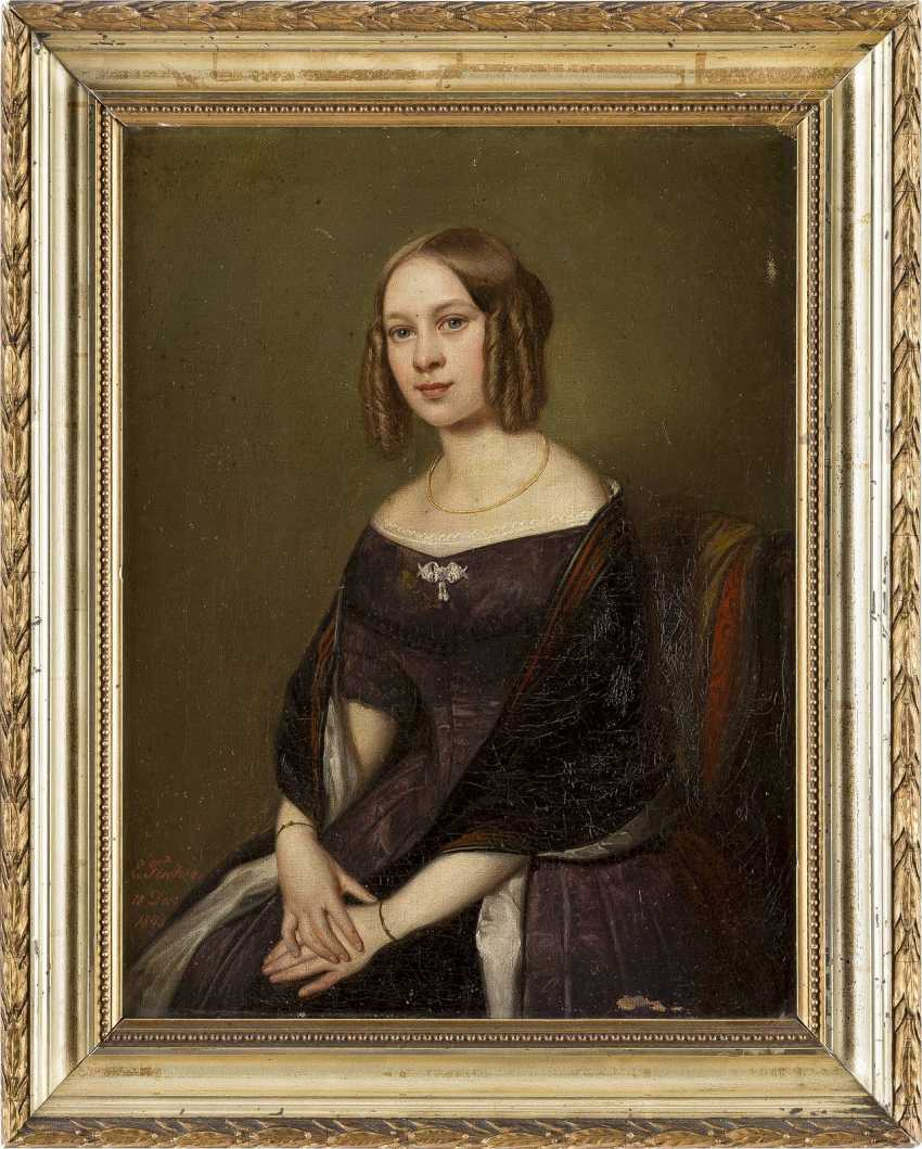 ERNST GEORG FISCHER 1815 Coburg - 1874 ebenda Halbporträt einer jungen Dame - photo 2
