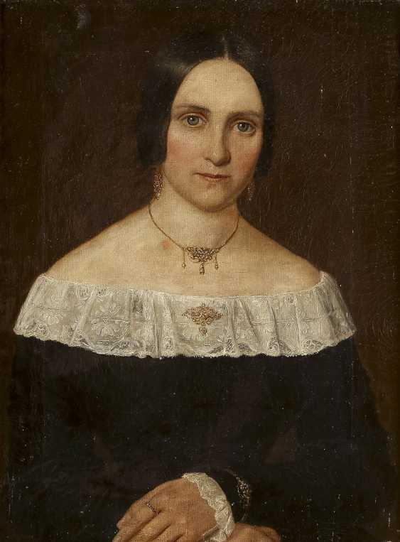 DEUTSCHER PORTRÄTMALER Tätig 1. Hälfte 19. Jahrhundert Zwei Biedermeier-Porträts: feine Dame (1) und edler Herr (2) - photo 4