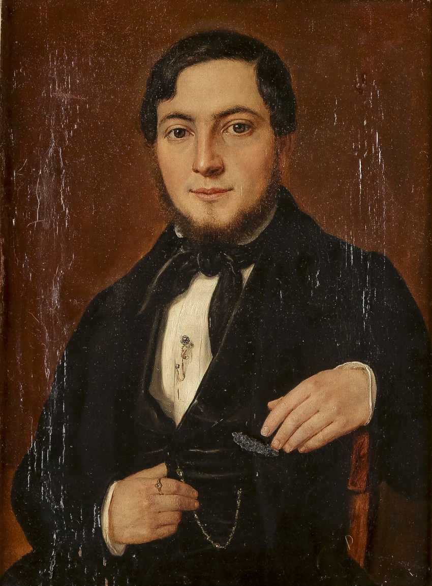 DEUTSCHER PORTRÄTMALER Tätig 1. Hälfte 19. Jahrhundert Zwei Biedermeier-Porträts: feine Dame (1) und edler Herr (2) - photo 2