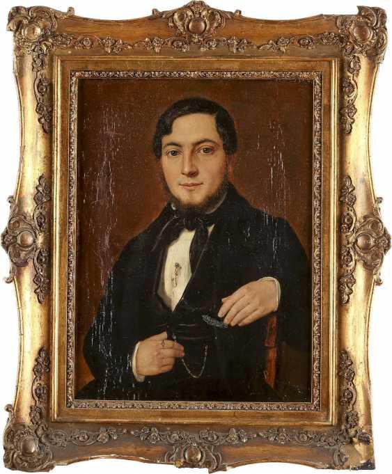 DEUTSCHER PORTRÄTMALER Tätig 1. Hälfte 19. Jahrhundert Zwei Biedermeier-Porträts: feine Dame (1) und edler Herr (2) - photo 3