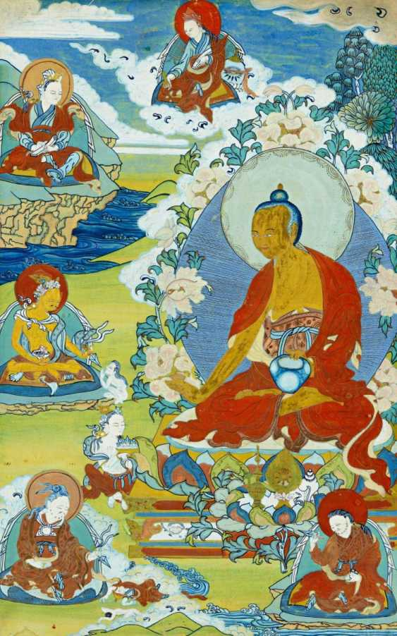 Large thangka of the refuge tree of Gelugpa school with founder Tsongkhapa - photo 3