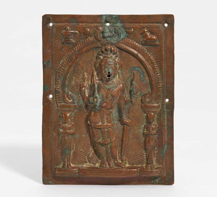 Kussplatte mit vierarmigem Shiva Virabhadra - photo 1