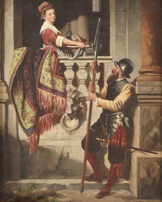 ALOIS BINDER (ATTR.) 1857 Graz - 1933 Landsknecht und Dienstmagd - photo 1