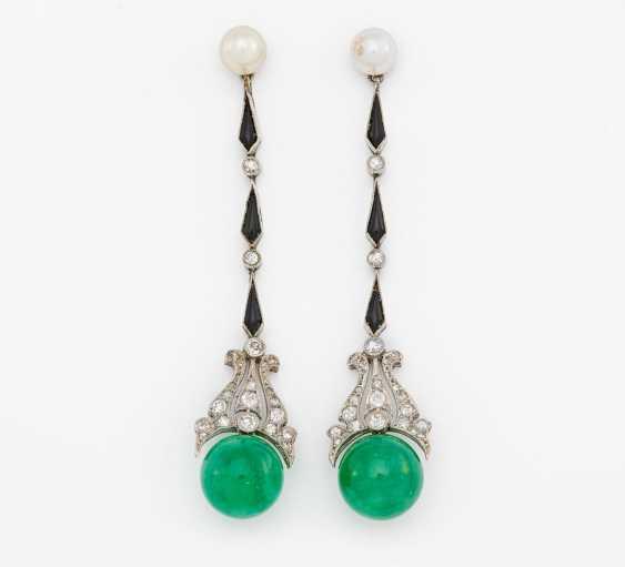 Emerald and diamond earrings - photo 1