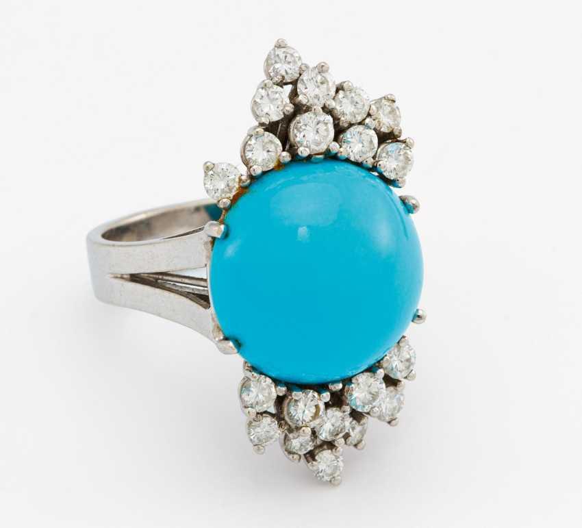 Turquoise diamond ring - photo 1