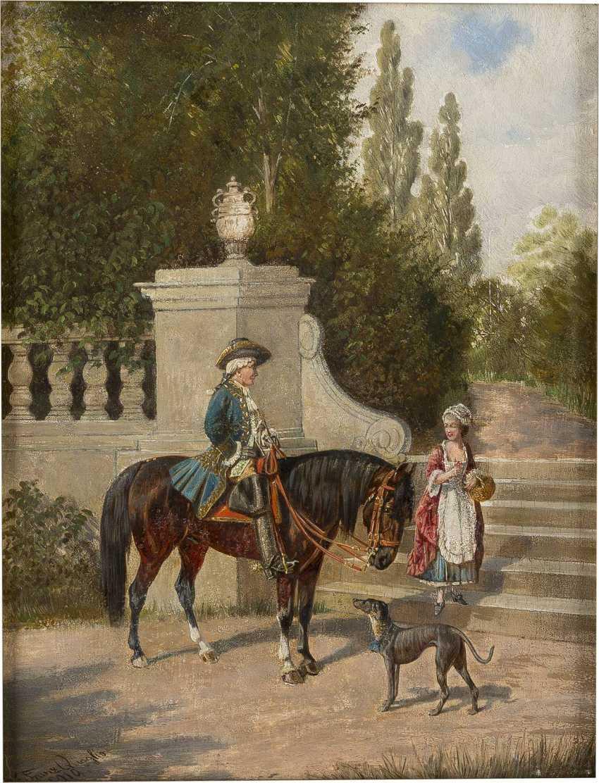 FRANZ QUAGLIO 1844 München - 1920 Wasserburg/Inn Parkszene mit Kavalier und junger Dame - photo 1