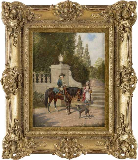 FRANZ QUAGLIO 1844 München - 1920 Wasserburg/Inn Parkszene mit Kavalier und junger Dame - photo 2