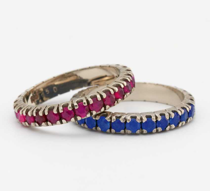Mixed lot: sapphire and ruby ring - photo 1