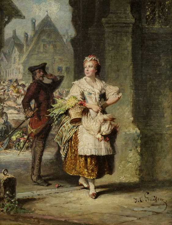 JAKOB EMANUEL GAISSER 1825 Augsburg - 1899 München Der Wachsoldat und die Marktfrau - photo 1