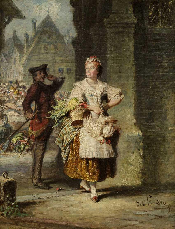 JAKOB EMANUEL GAISSER 1825 Augsburg - 1899 München Der Wachsoldat und die Marktfrau - фото 1