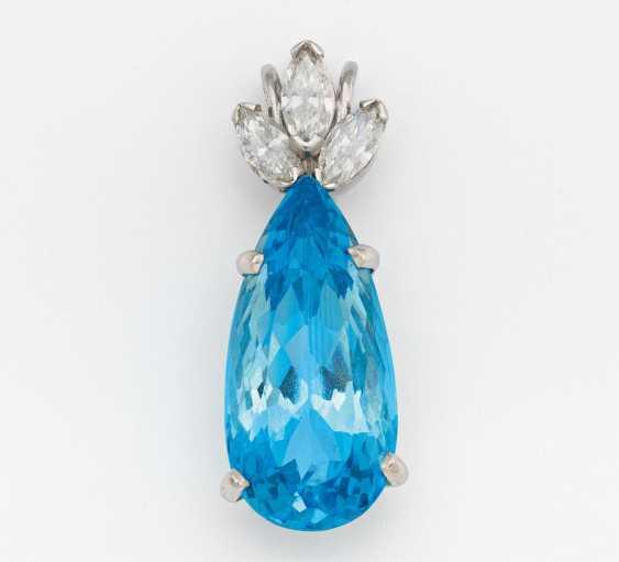 Aquamarine diamond pendant - photo 1